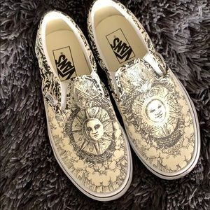 NWOT sun and moon slip on vans